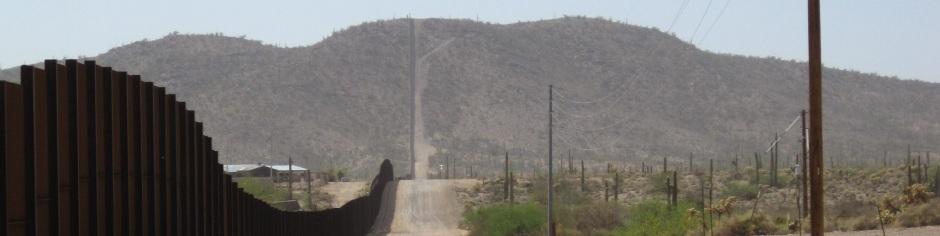 looking west from Lukeville, AZ, along pedestrian border fence